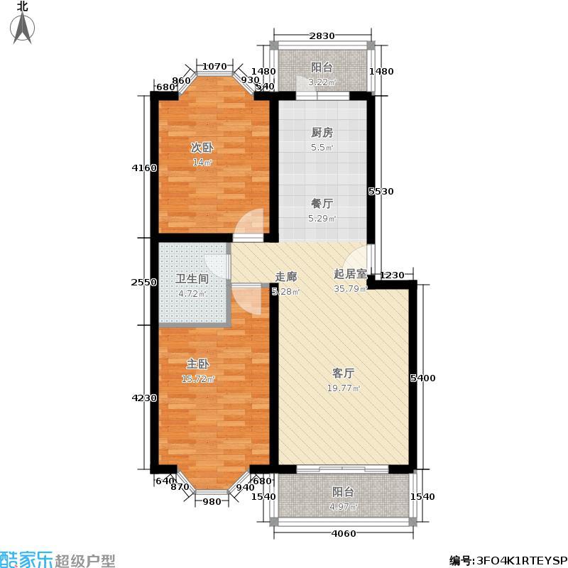 韩建雅苑88.61㎡户型2室1厅