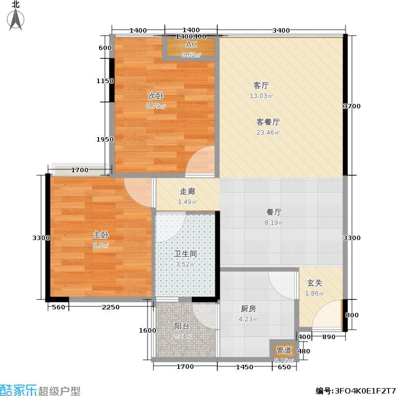 荣盛花语城60.00㎡一期5号楼标准层A3户型