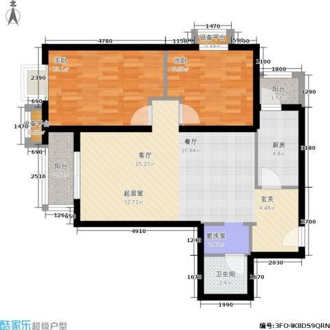 加州水郡2室0厅1卫1厨99.00㎡户型图