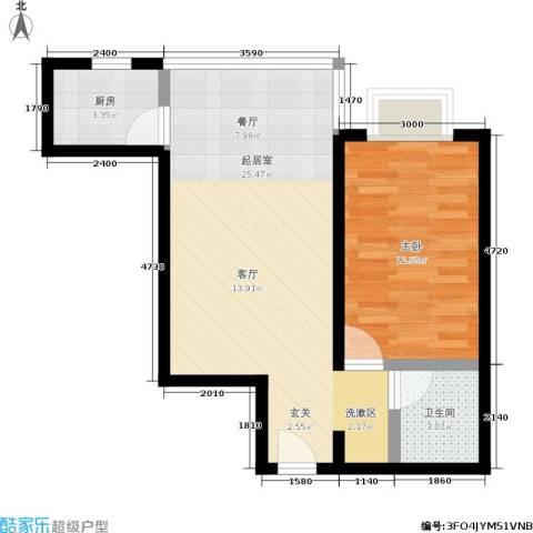 天伦御城龙脉1室0厅1卫1厨61.00㎡户型图
