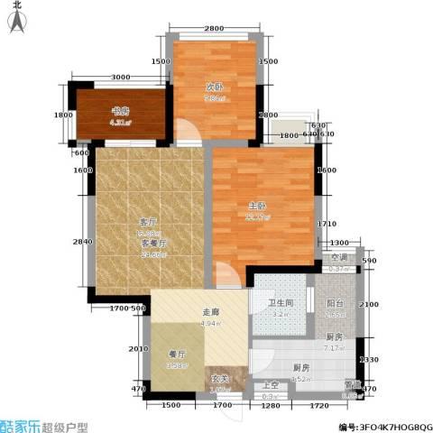 金辉悦府3室1厅1卫1厨72.00㎡户型图