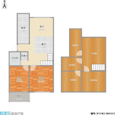 风光里2室1厅1卫1厨156.00㎡户型图