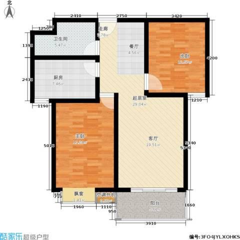 广厦水岸东方2室0厅1卫1厨93.00㎡户型图