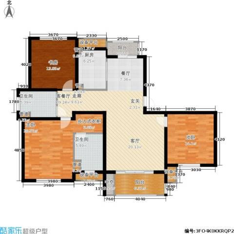 农房万盛金邸3室1厅2卫1厨130.00㎡户型图