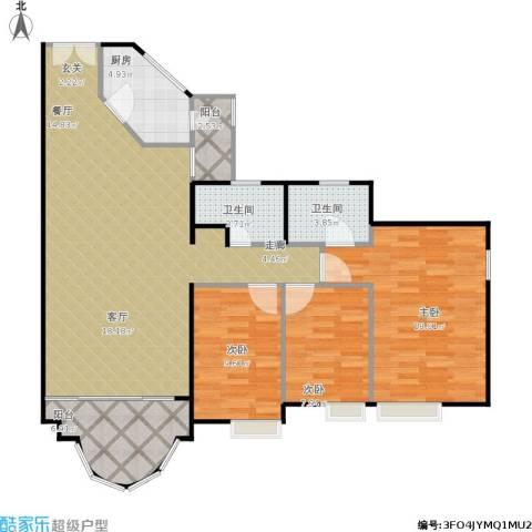 隆盛花园3室1厅2卫1厨131.00㎡户型图