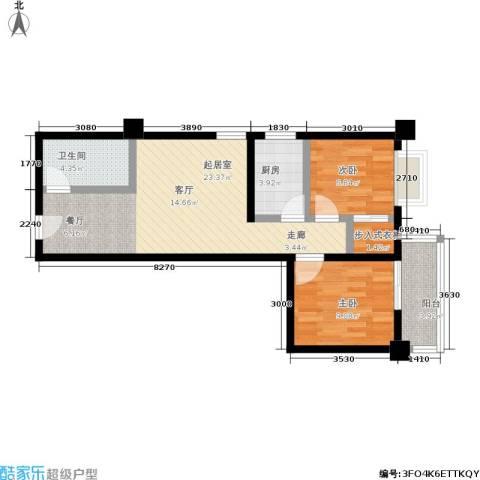 蓝山公馆2室0厅1卫1厨76.00㎡户型图