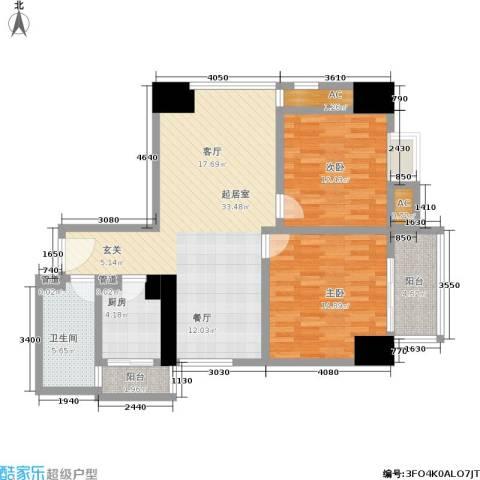 曼城国际2室0厅1卫1厨95.00㎡户型图