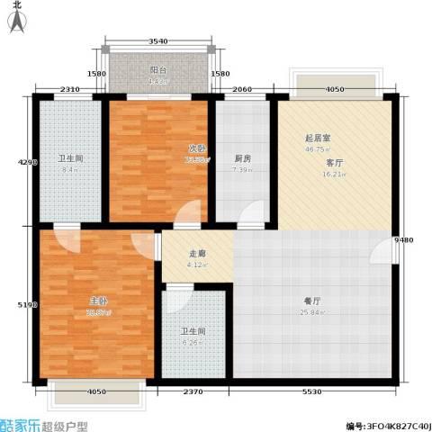大华锦绣2室0厅2卫1厨119.00㎡户型图