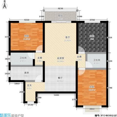 金茂晓苑3室0厅2卫1厨122.00㎡户型图