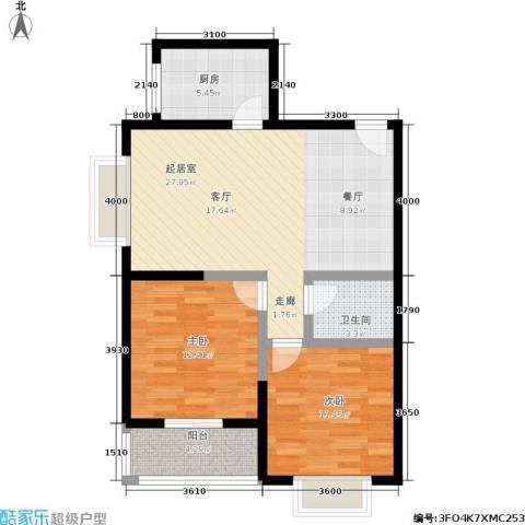 西旅国际中心2室0厅1卫1厨64.86㎡户型图