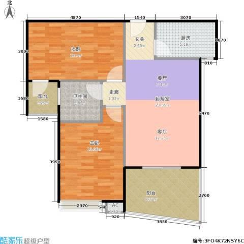 丽都・中央公馆2室0厅1卫1厨84.00㎡户型图