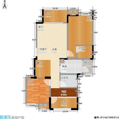 千山米兰郡2室1厅2卫1厨90.00㎡户型图