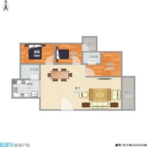 富湾新村3室1厅2卫1厨78.00㎡户型图