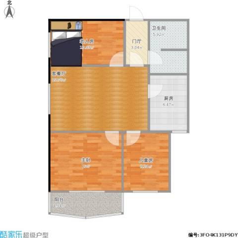 农影小区3室1厅1卫1厨96.00㎡户型图