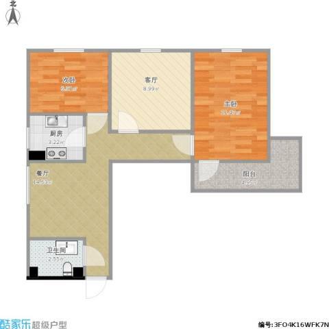 月季园小区2室2厅1卫1厨73.00㎡户型图