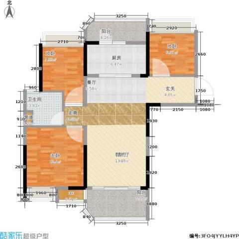 碧桂园城市花园3室1厅1卫1厨89.00㎡户型图