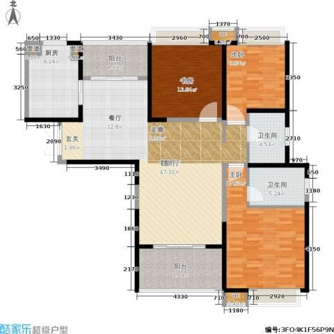 九方城3室1厅2卫1厨128.00㎡户型图