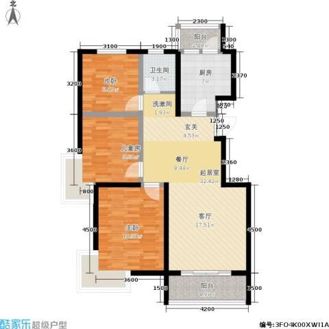 阅城国际花园3室0厅1卫1厨111.00㎡户型图