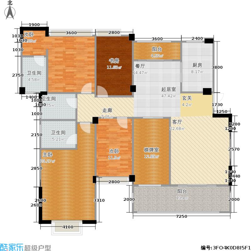 成都雅居乐花园191.69㎡二期6号楼标准层J1-2户型