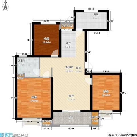 农房万盛金邸3室1厅1卫1厨108.00㎡户型图