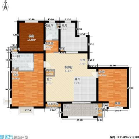 农房万盛金邸3室1厅2卫1厨132.00㎡户型图