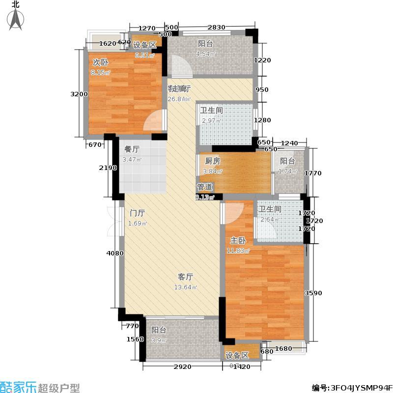 千山米兰郡88.62㎡二期一号楼标准层A2户型