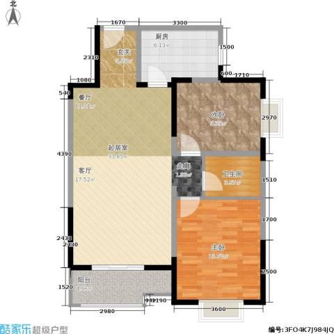 学林雅苑,长安星园2室0厅1卫1厨88.00㎡户型图