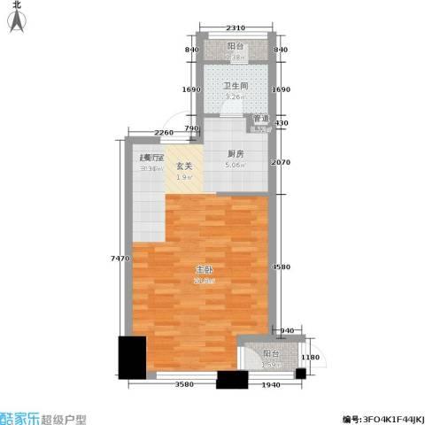江阴万达广场1卫0厨43.00㎡户型图