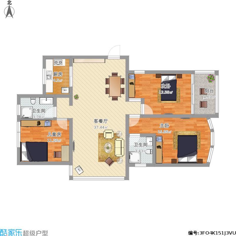 高层三室两厅两卫实用面积106方