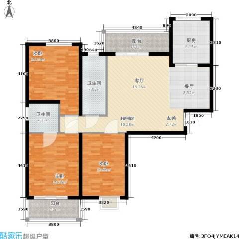 富春山居3室0厅2卫1厨128.00㎡户型图