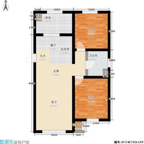 万科蓝山2室0厅1卫1厨90.00㎡户型图