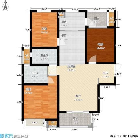 江阴万达广场3室0厅2卫1厨126.00㎡户型图