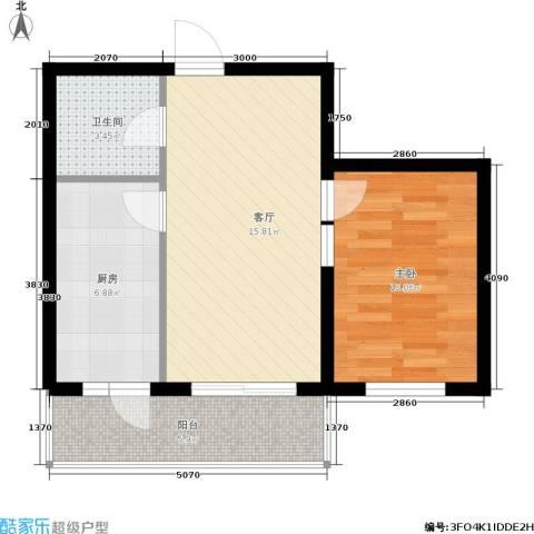 富佳新天地1室1厅1卫1厨60.00㎡户型图