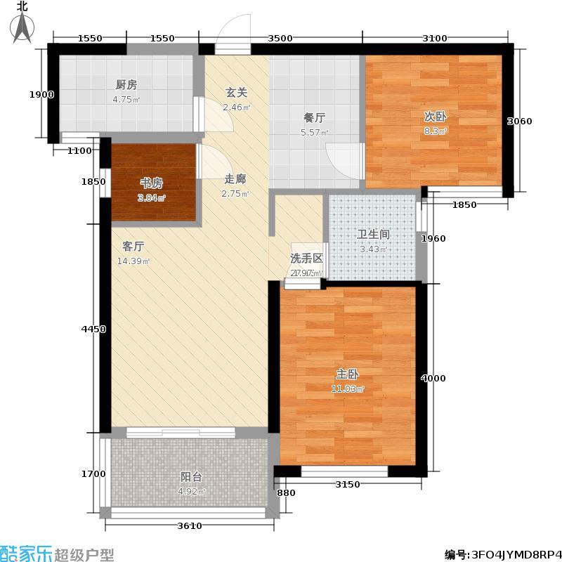 隆源国际城80.97㎡9#1单元标准层2室户型