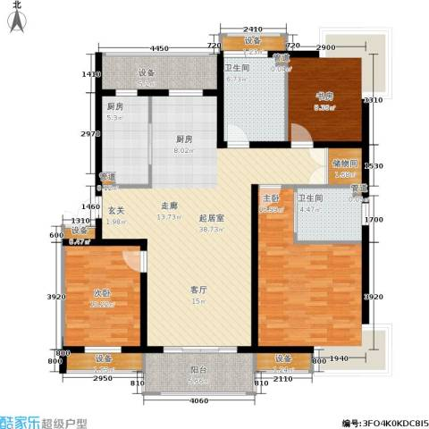 绿岛江湾城3室0厅2卫1厨124.00㎡户型图
