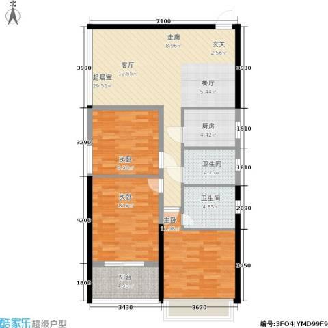 隆源国际城3室0厅2卫1厨97.00㎡户型图