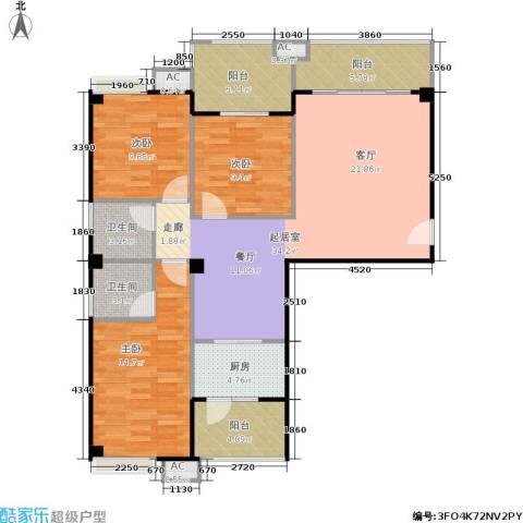 丽都・中央公馆3室0厅2卫1厨114.00㎡户型图
