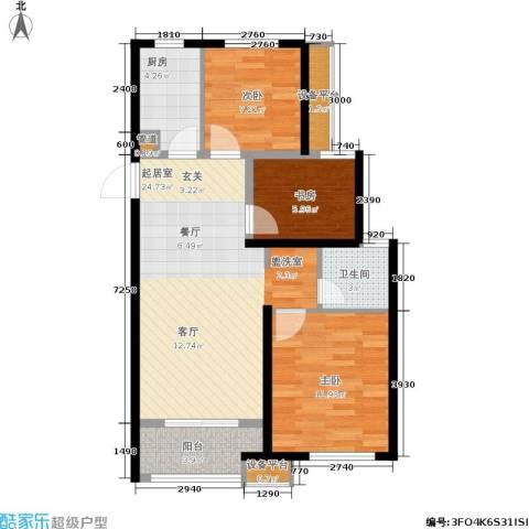 绿地香树花城3室0厅1卫1厨86.00㎡户型图