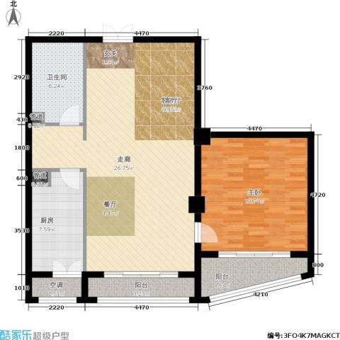 一中官邸1室1厅1卫1厨96.00㎡户型图