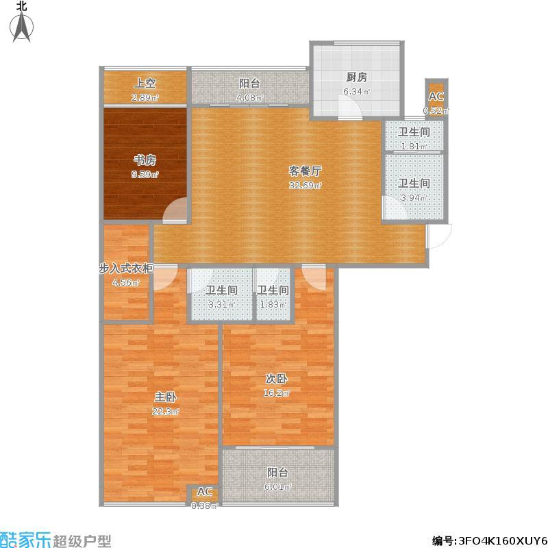 绿城西子田园牧歌揽翠苑1E户型三室两厅两卫