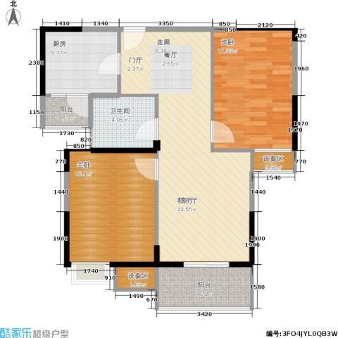 金地雄楚1号2室1厅1卫1厨92.00㎡户型图
