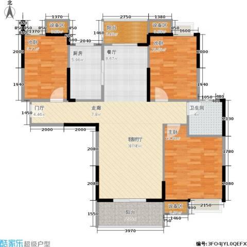 金地雄楚1号3室1厅1卫1厨119.00㎡户型图
