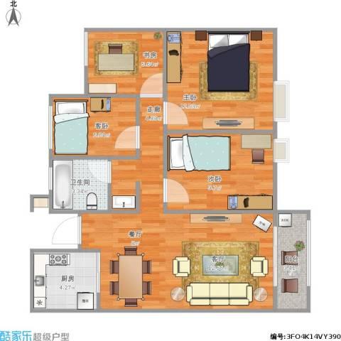 万科蓝山4室1厅1卫1厨96.00㎡户型图