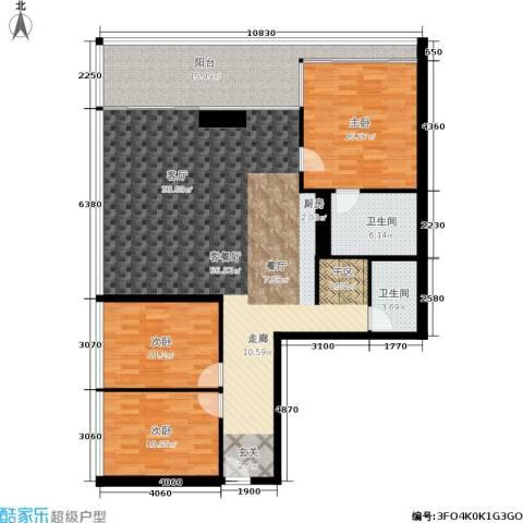 悉尼绿地中心3室1厅2卫0厨136.00㎡户型图
