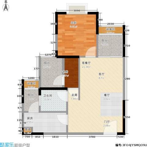 千山米兰郡2室1厅1卫1厨65.00㎡户型图