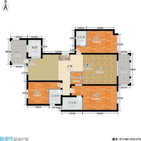 龙湾3室1厅3卫1厨178.00㎡户型图