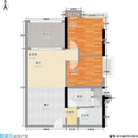 盈彩美居2室0厅1卫1厨78.00㎡户型图
