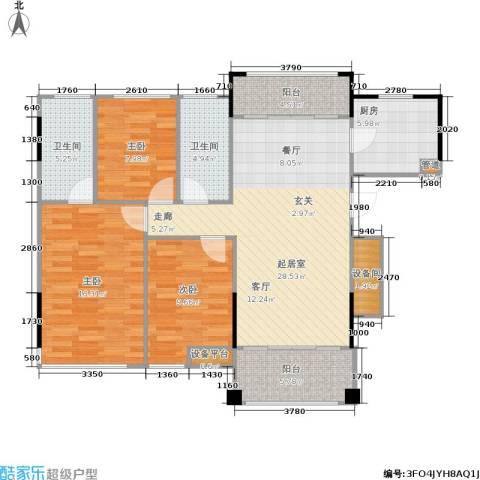 佛奥俊贤雅居3室0厅2卫1厨112.00㎡户型图