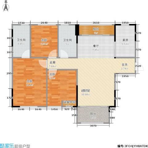 佛奥俊贤雅居3室0厅2卫1厨98.00㎡户型图