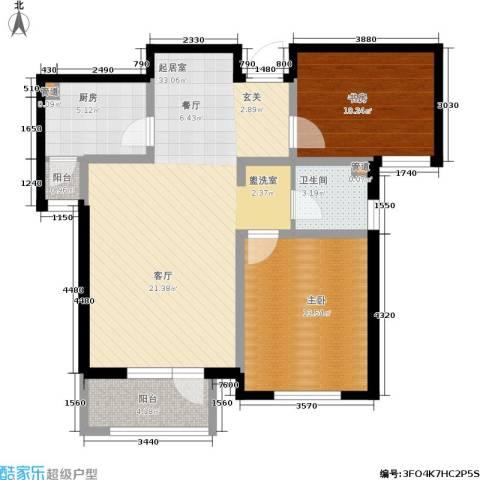南麓雅筑2室0厅1卫1厨101.00㎡户型图